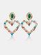 Rhinestone Alloy Vintage Colorful Heart-shape Earrings - Rainbow