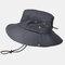 Men's Hiking Hat Big Breathable Sun Hat UV Protection Fisherman's Hat - Black