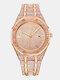 Montre à quartz en or rose pour hommes de luxe avec strass complet - #05