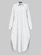 Frauen einfarbig Taschenknopf Revers Langarm Casual Bluse - Weiß
