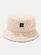 Women & Men Solid Color Casual Soft All-match Outdoor Bucket Hat - Beige