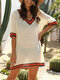 Embroidery Crochet Hollow Out V-neck Plus Size Beaches Holiday Blouse - Apricot