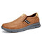 Men Comfy Microfiber Leather Slip-on Business Casual Shoes - Brown