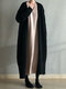 Solid Color Knitted Long Sleeve Casual Coat for Women - Black