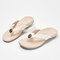 Women Comfortable Flip Flops Solid Color Beach Slippers - White