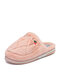 Women Casual Strawberry Pattern Plush Warm Comfortable Flat Home Backless Slippers - Pink