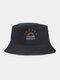 Women & Men Rainbow Embroidery Pattern Casual Outdoor Visor Bucket Hat - Black