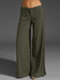 Casual Solid Color Pockets Plus Size Pants for Women - Army