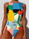 Women Floral Abstract Print High Neck Slimming One Piece Sleeveless Swimsuit - Sky Blue