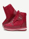Women Comfy Warm Plush Lining Waterproof Cloth Non Slip Hook Loop Snow Boots - Red1