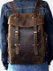 Men PU Leather Vintage 15.6 Inch Laptop Outdoor Large Capacity Backpack - Coffee