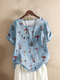 T-shirt ample à manches courtes et imprimé champignon pour femme - bleu