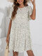 Floral Print Short Sleeve Pleated O-neck Summer Holiday Dress - White