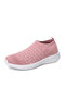 Large Size Women Knitted Fabric Comfy Slip On Breathable Casual Sock Sneakers - Pink