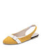Women Fashion Pointed Toe Buckle Strap Backless Elastic Slip On Flat Shoes - Yellow