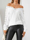 Women Lace Patchwork Hollow Long Sleeve V-neck Solid Color T-Shirt - White