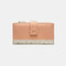 Women Genuine Leather 12 Card Slots Patchwork Floral Photo Card Money Clip Coin Purse Multifunctional Wallet - Pink