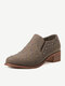 Women Casual Sequined Elastic Band Round Toe Chunky Heel Short boots - Brown