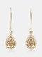 Bohemia Drop-Shape Women Earrings Hollow Pearl Inlaid Pendant Earrings Jewelry Gift - #01