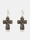 Bohemia Cross Women Earrings Flower Rhinestone Pendant Earrings Jewelry Gift - Gold