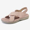 LOSTISY Women Lace Decor Cross Elastic Band Comfy Casual Sandals - Pink