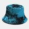 Men Double-Side Tie-dye Cotton Graffiti Ink Painting Sunscreen Street Trend Fisherman Hat Bucket Hat - Lake Blue