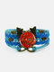 Vintage Multicolor Butterfly Pattern Print Butterfly Braided Gemstone Multi-layer Bracelet - Blue