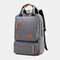 Women Waterproof School Bag Solid Large Capacity Backpack - Grey