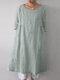 ポケット付きソリッドカラー3/4スリーブルーズコットンプラスサイズドレス - 薄緑