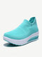 Women Knitted Fabric Comfy Breathable Casual Slip On Fashion Rocker Sole Casaul Sock Sneakers - Blue