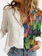 Cartoon Cat Printed Long Sleeve Turn-down Collar Patchwork Blouse For Women - Green