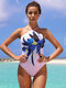 Women Plant Flower Pattern Knotted One Piece Swimsuits - Pink