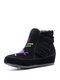 Plus Size Women Ethnic Embroidered Suede Tassel Straps Ankle Boots - Black