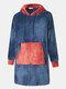 Men Flannel Oversized Contrast Color Blanket Hoodies Patched Sleeves & Kangaroo Pocket Wearable Blankets Robes - Blue