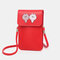 Women PU Leather Touch Screen 6.5 Inch Crossbody Phone Bag - Red1