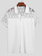 Plus Size Mens Floral Lace Stitching Casual Short Sleeve Shirts - White