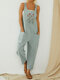 Flower Embroidered Straps Casual Jumpsuit For Women - Grey