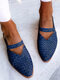 LOSTISY Large Size Retro Braided Veins Pointed Toe Hollow Slingback Flats for Women - Blue