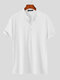 Plus Size Mens Solid Color Frog Button Casual Short Sleeve Henley Shirts - White