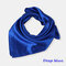 Square Plain Scarf Silk Headband Small Neckerchief Head Neck Lady Women Scarves - Dark Blue