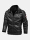 Mens Faux Fur Badge Zip Front Lapel Collar Relaxed Fit Thicken Jackets - Black