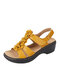 Women Pure Color Flowers Decoration Wedges Heels Slingback Sandals - Yellow