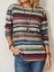 Casual Striped Print O-neck Long Sleeve Plus Size Blouse for Women - Blue