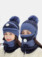 Women 3PCS USB Charging Heating Warm Outdoor Winter Neck And Face Protection Knitted Hat Scarf Mask - Navy