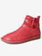 Womens Stitching Slip On Solid Color Slip Resistant Winter Ankle Boots - Red