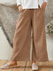 Wide Leg Side Button Solid Color Casual Pants For Women - Coffee
