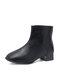 Women British Style Squared Toe Leather Back Zipper Chunky Heel Shorts Boots - Black