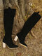 Women Slip On Solid Color Simple Elegant Casual Knee High Boots - Black