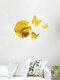 Acrylic Mirror Stickers Wall Clock Modern Design Fairy Butterfly 3D DIY Duvar Saati Clocks For Girl Gift Living Room Home Decor - Gold