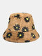 Women & Men Lamb Wool Fur Soft Warm Plus Thicken Casual All-match Cute Daisy Flower Pattern Bucket Hat - Khaki